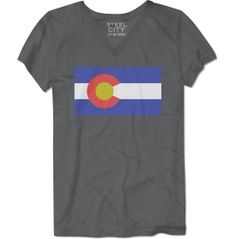 Make your Colorado pride known when you are snowboarding down the mountain or hiking through the hills wearing the Steel City Cotton Works® Basic Flag Colorado T-Shirt. This V-neck tee is made with poly-cotton materials, making it super soft and comfortable all day long. The screen-printed graphic design is bright and bold while the tagless collar keeps you itch and irritation-free. Feel like an outdoorswoman everyday in the Basic Flag.