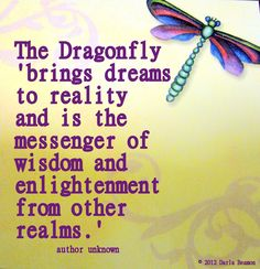 the dragonfly brings dreams to reality and is the messenger of wisdom......