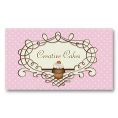 Fancy Frame Pink Buttercream Cupcake Business Card