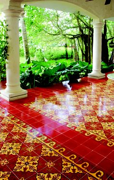 Create a Traditional Patio with Cement Tile Handcrafted cement tiles provide both long life and distinctive beauty. This stunning Alcala cement Hacienda Style, Elegant Tiles, House Design, Tiles, Patio Design, Spanish Tile, Cement Tile, Tile Design, Patio Tiles