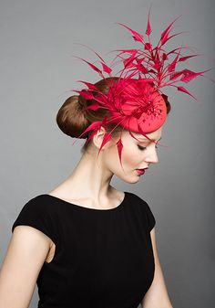 Rachel Trevor Morgan Millinery S/S 2015, R1576 Red claw feather pillbox with beading