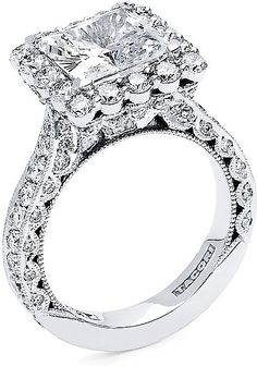 Rosamaria G Frangini   My Diamond Jewellery   This image shows the setting with a 3.00ct princess cut center diamond. The setting can be ordered to accommodate any shape/size diamond listed in the setting details section below.