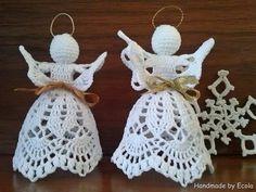 Best 12 Handmade by Ecola – Aniołki 2014 – SkillOfKing. Crochet Christmas Decorations, Christmas Angel Ornaments, Crochet Christmas Ornaments, Holiday Crochet, Handmade Christmas, Crochet Angel Pattern, Crochet Diagram, Crochet Patterns, Crochet Tree