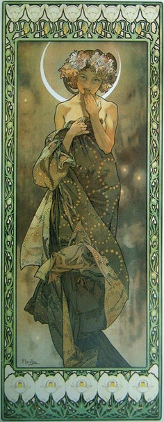 Ideas For Art Nouveau House Alphonse Mucha Art Nouveau Mucha, Alphonse Mucha Art, Art Nouveau Poster, Art Deco Tattoo, Illustrator, Online Galerie, Art Nouveau Illustration, Star Art, Vintage Art