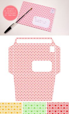 """Hearts"" Pattern and Envelope Template - Free PDF Printable in 3 colorways."