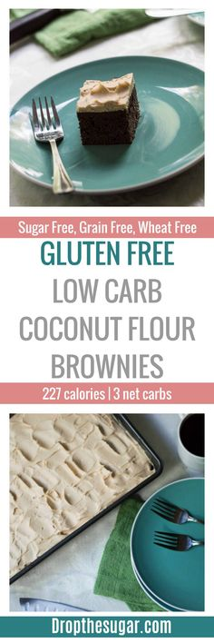 Gluten Free Low Carb Coconut Flour Brownies | a delicious sugar free brownies recipe made with coconut flour. Even if you're not living a sugar free low carb lifestyle, these still make an easy gluten free brownies recipe! Pin now to make later. via @dropthesugar