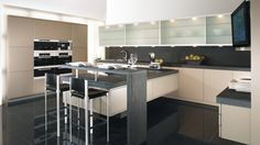 Picco Diamond Lacquer Kitchen w/ glass sliding door wall units