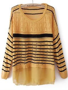 Yellow Long Sleeve Striped Contrast Chiffon Sweater US$21.15