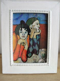 PABLO PICASSO Framed Postcard Painted Wooden Frame Up Cycled Frame Distressed Shabby Chic Frame Beaded Design Frame Antique White and Blue by BigGirlSmallWorld on Etsy