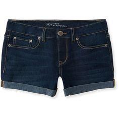 Aeropostale Kids' Dark Wash Denim Shorty Shorts ($25) ❤ liked on Polyvore featuring bottoms, dark denim and aéropostale