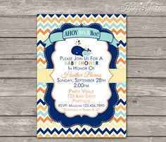 PRINTABLE AHOY, It's A Boy! Blue and Orange Whale Baby Shower Invite - Personalized - Digital Invitation 4x6 or 5x7 jpg or pdf on Etsy, $9.99