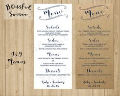 Wedding Or Rehearsal Dinner Menu Printable By Leoandlambdesigns