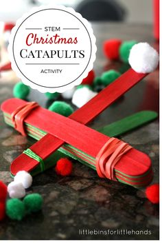 Christmas STEM Activity Simple Catapult for Kids. Build a simple machine and learn about fulcrum points, force, load, and levers. Popsicle catapults are an easy kid's activity.