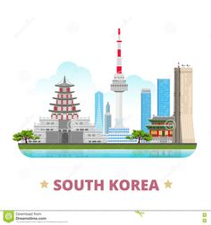 South Korea country design template Flat cartoon s. South Korea country design f , Building Illustration, Travel Illustration, Asia Travel, Japan Travel, Korea Country, Bible Verses Quotes Inspirational, Vacation Trips, Vacation Travel, Cartoon Styles