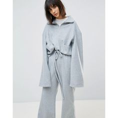 House Of Sunny Funnel Neck Jumper In Soft Fleece Co-Ord ($66) ❤ liked on Polyvore featuring tops, sweaters, grey, gray crop top, gray sweater, grey cropped sweater, gray cropped sweater and oversized gray sweater