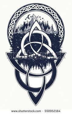 Celtic knot tattoo. Mountain, forest, symbol travel, symmetry, tourism t-shirt design. Celtic tattoo in ethnic style #CoolTattooIdeas