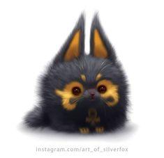 Anubis cat or Anucat. Baby Animals Super Cute, Cute Little Animals, Cute Fantasy Creatures, Cute Creatures, Cute Cartoon Animals, Anime Animals, Kawaii Drawings, Cute Drawings, Baby Animal Drawings