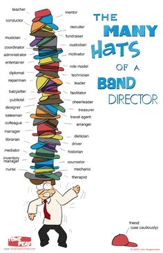 The Many Hats of a Band Director... Could apply to a choir director, too!