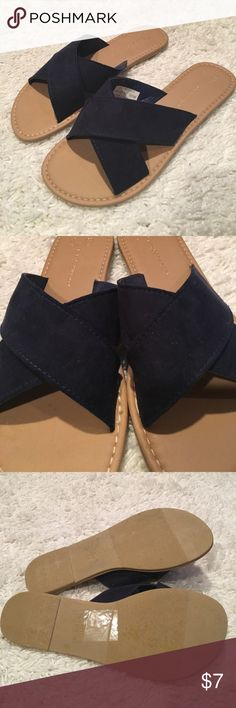 navy sandals Only worn once, in excellent condition. Making room in my closets. Smoke and pet free home. Atmosphere Shoes Sandals