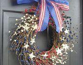 *Berry Wreath, July 4th Decor, Americana, Patriotic Wreath, Americana Decor, Memorial Day Wreath, Rustic Wreath, Primitive Decor