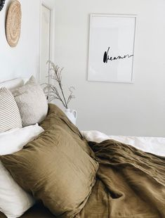 Pure French Flax Linen - Pure Luxury in Olive, Olive Stripe and Brilliant White. Linen Sheets, Linen Bedding, Bedding Sets, Striped Bedding, Home Bedroom, Bedroom Decor, Bedrooms, Olive Bedroom, Minimalist Bed