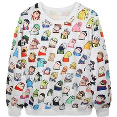 Ladies Crew Neck Jumper Cartoon Characters Printed Sweatshirt ($19) ❤ liked on Polyvore featuring tops, hoodies, sweatshirts, white, crew-neck sweatshirts, cartoon sweatshirts, sweatshirt hoodies, white top and sweat tops