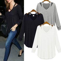 Women-V-neck-Plus-Size-Tops-Loose-Long-Sleeve-T-Shirt-Casual-Blouse-Fashion