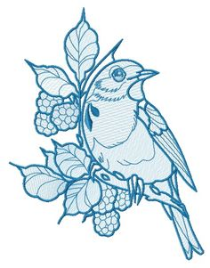 European robin 2 embroidery design. Machine embroidery design. www.embroideres.com