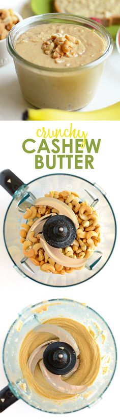 Make your own crunchy cashew butter with just a few simple ingredients, a food processor, and 10 minutes! No added sugar or additives involved!