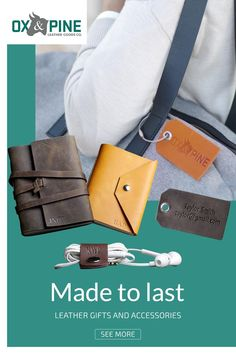 Meaningful and lasting gifts that that will be cherished for years to come. Leather Luggage Tags, Leather Gifts, Leather Journal, Custom Leather, Leather Working, Customized Gifts, Her Style, Messenger Bag, Traveling By Yourself