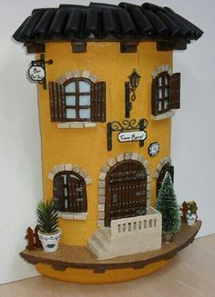 Hobbies To Relieve Stress Ceramics Projects, Polymer Clay Projects, Clay Crafts, Diy And Crafts, Clay Houses, Ceramic Houses, Miniature Houses, Fairy Garden Houses, Fairy Doors
