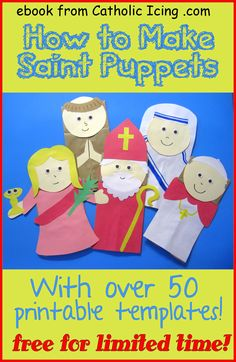 Make these fun Saint paper bag puppets with kids for All Saints' Day! Download this ebook with over 50 templates for free. :-)