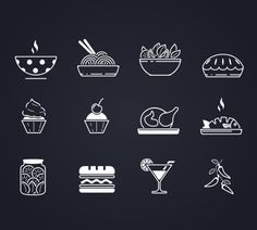 Free Vector Food Icons, #Graphic #Design, #Vector, #Free, #Resource, #Food, #Icon, #AI