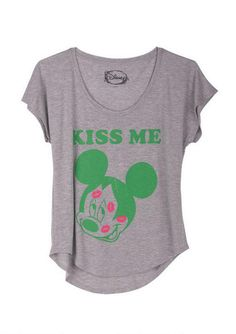 Vintage Inspired Womens Mickey Mouse Kiss Me Dolman Shirt   Generation T
