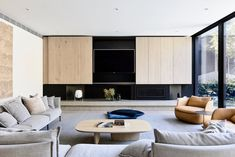 Concrete hearth, black linear fireplace, timber above fireplace. Concern about TV integration. Home Living Room, Living Room Designs, Living Room Furniture, Living Spaces, Office Furniture, Linear Fireplace, Lounge, Family Room Design, Furniture Design