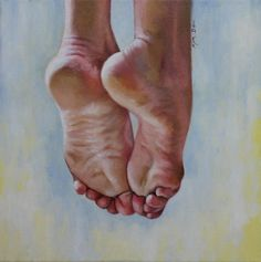 "Closure original oil portrait feet figurative 12x12"" painting by Kim Dow"