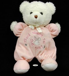 Prestige Thank Heaven for Girls Pink Bear White Plush Security Lovey Toy  #ebay #sell #baby