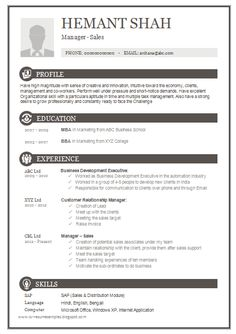 One Page Resume Template Awesome One Page Resume Sample For Freshers  Career  Pinterest
