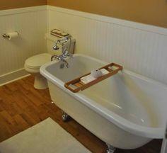 Wooden Bathroom, Wainscoting, Wooden Flooring, Bath Caddy, Bathtub, Wood Bathroom, Wood Flooring, Standing Bath, Wood Siding