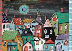 Landscape Greeting Card featuring the painting Midnight by Karla Gerard