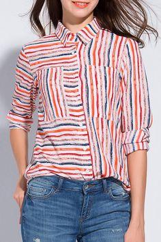Colorful Striped Shirt Neck Long Sleeve Shirt