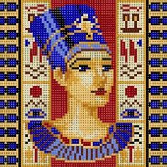 Nefertiti portrait - Egyptian hama perler art by deco. Pearler Bead Patterns, Perler Patterns, Pearler Beads, Loom Beading, Beading Patterns, Cross Stitch Designs, Cross Stitch Patterns, Modele Pixel Art, Beaded Cross Stitch