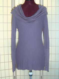 Splendid Sz S Purple Pima Cotton Blend Thermal Knit Top W/ Cowl Neck Long Cuffs #Splendid #KnitTop