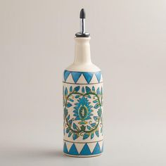 One of my favorite discoveries at WorldMarket.com: Floral Hand-Painted Ceramic Oil Bottle