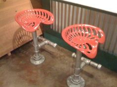 Tractor seat bar stools.. Not a fan of the pink, but a more natural or rustic look!