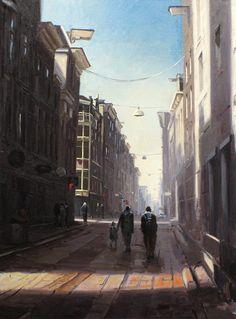 Titus Meeuws impressionist - Warmoesstraat - Den Haag. Olieverf op doek. 150 x 110