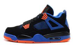 best service 25fdc 15d30 Air Jordan Retro IV Knicks Cavs Black Safety Orange-Game Royal Shoes
