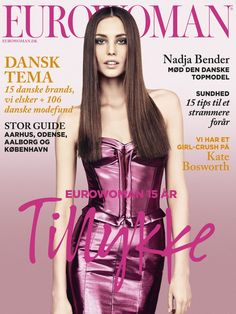 Danish model Nadja Bender wearing a Burberry Prorsum dress on the cover of  the15th anniversary issue of Eurowoman