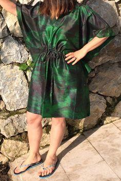 Green Handmade Tunic Caftan Silk Kaftan Beach Wear Resort by Urbe