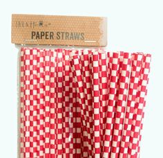 Red Cube Retro Drinking Paper Straws
